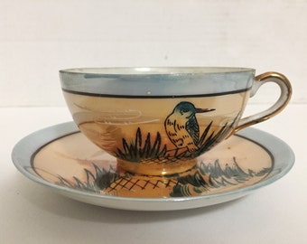 Eggshell Porcelain Japanese Kingfisher & Reeds Tea Cup and Saucer Lusterware - Vintage Teacup Made in Japan