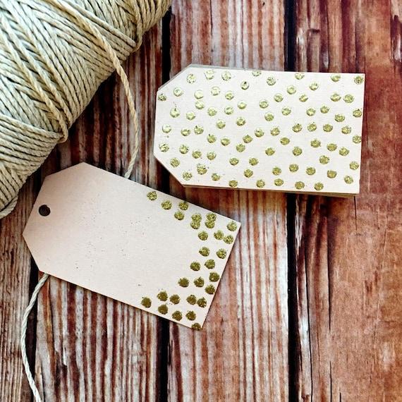 Blank confetti paper tags, set of 25 handmade glitter polka dot labels, engagement bridal shower wedding decor, favor gift tags, DIY wedding