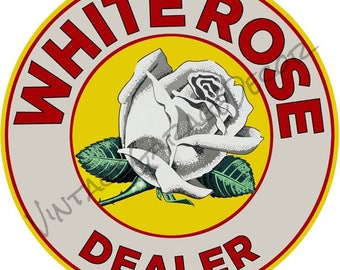 """Reproduction """"White Rose Dealer """" Canadian Gas / Oil Company Metal Sign"""