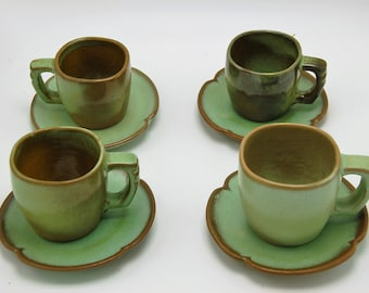 Frankoma 5E and 5C set of 4 mugs and saucers. Vintage Mid Century Pottery