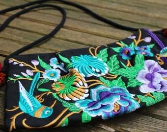 Embroidered Hmong bag, small shoulder bag, Thai bag, Thai purse, crossbody bag, boho bag, bohemian bag, flowers, birds