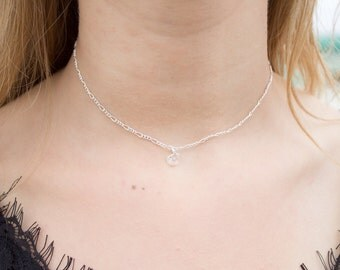 Delicate Swarovski Crystal Silver Choker Necklace