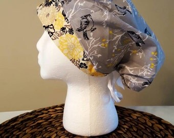 Grey Birds Bouffant/Ponytail Scrub Hat with Yellow Band and White Ribbon