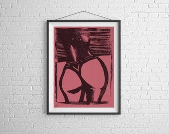 Woman 3,linocut,print making,Print, Artwork, Painting,Decor,Surreal,Art,geek,ink