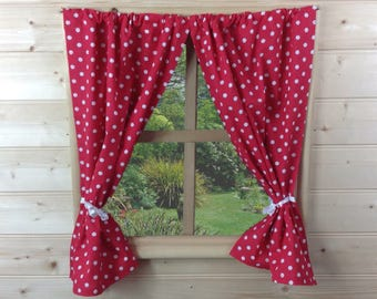 Red Dotty Playhouse Curtains