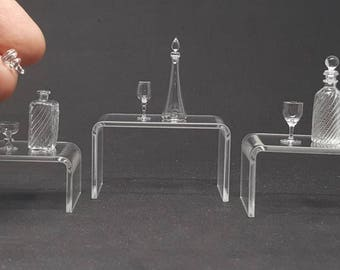 3 Set of Whisky Brandy Bottle and Glass for Dollhouse Miniature