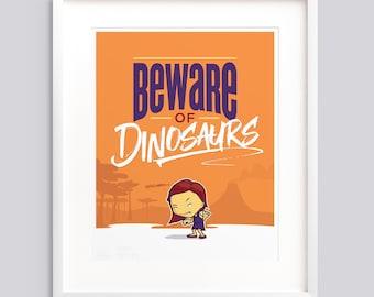 "Poster ""Beware of Dinosaurs"" Girls—Typographic poster, kids room wall art giclée print nursery - v1"