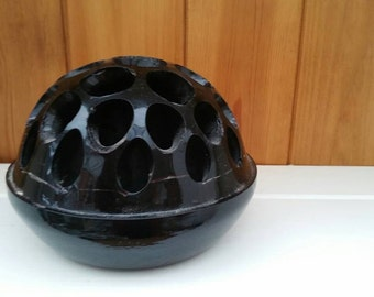 Vintage large glass flower frog/heavy glass flower display/black glass/ships worldwide from UK