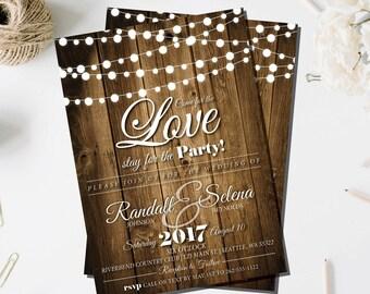 Rustic Wedding Invite | Rustic Invitation | Wood | String Lights | Barn Wedding Invitation | Rustic Wedding Invitations