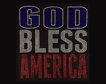 "Patriotic, God Bless America  (9.75x9"") Rhinestone Bling T-Shirt"