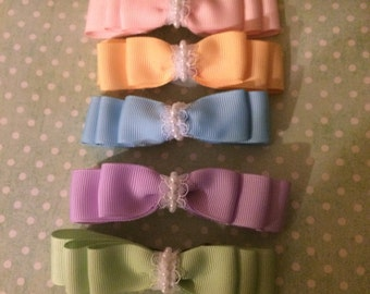 Spring/ Easter pastel color hairbows - Easter **Set of FIVE**
