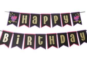 Happy Birthday banner, Nighowl themed happy birthday banner, nightowl birthday banner, owl Birthday party, Nightowl , owl birthday banner