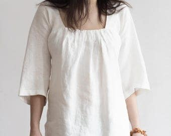 Boho Linen Tunic Top with Drapes