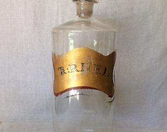 """Antique 1880's """"TR:RHEI"""" Pontil Apothecary Bottle"""