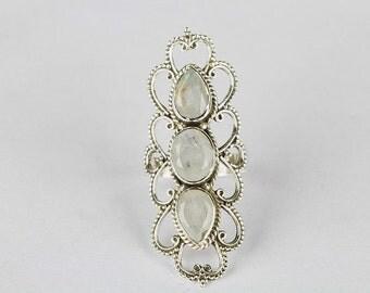 Handmade Natural Rainbow Moonstone Gemstone Sterling Silver Ring, Vintage Style Long Ring, Statement Ring. Triple Moonstone Ring