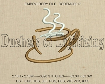 Coffee Cup Embroidery Design, Coffee Cup Embroidery File, DODEMOB017