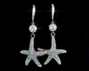 Handmade CZ & Crystal Rhinestone Goldplate Starfish Bridal Earrings (Sparkle-2078-A)