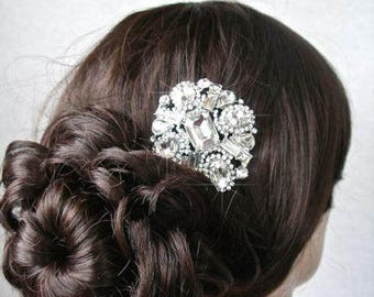 Vintage Inspired Art Deco Crystal Rhinestone Hair Clip, Bridal, Wedding (Sparkle-1905)