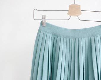 Light turquoise, knitted pleated midi skirt, soft cotton, summer, spring