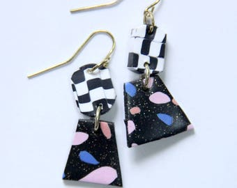 Polymer Clay Chandelier Earrings 80s Black Checkered Sparkle Glitter 80s Pink Blue Peach