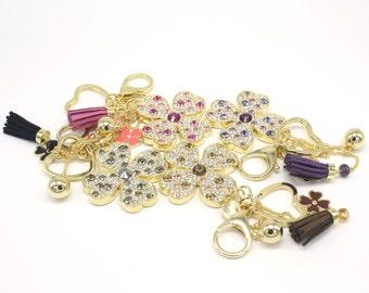 Lucky Four-leaf Clover Keyholder Pure Handmade Key Chain Handbag Accessory