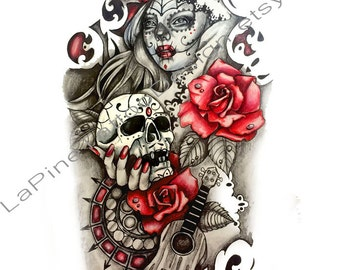 Sugar Skull Woman with Roses and Guitar ~ Tattoo Design