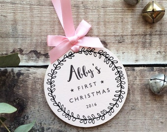 Personalised Baby's First Christmas Bauble Christmas Decotation – Pink