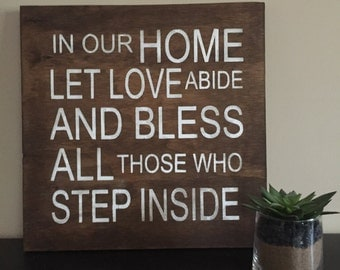 In our home let love abide, home quote, vintage typography Word Art, family rules, subway style, we do sign, welcome sign, wall art