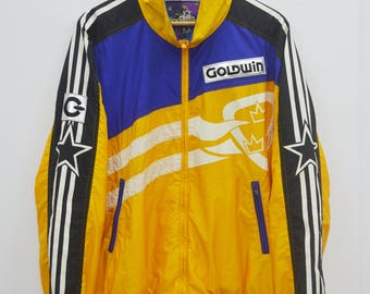 GOLDWIN Sweater Vintage 90's Goldwin Multicolor Zipper Sweater Jacket Size Jaspo O