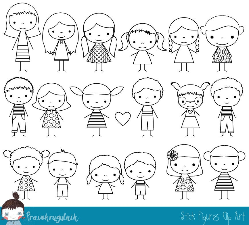 Cute boy and girl stick figure digital stamp, Children ...