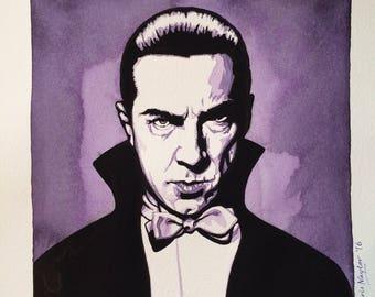 ORIGINAL watercolour/gouache painting of actor Bela Lugosi by Chris Naylor