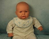 Vintage large Vinyl Famosa Spanish Interactive Baby doll in original sleepsuit very life like baby reborn style