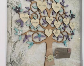 Family Tree, wooden family tree, personalised family tree, hanging wall art, mothers day gift, birthday gift, personalised tree, Mothers day