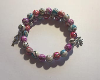 Bright Beaded Memory Wire Wrap Bracelet