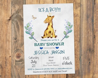 Baby Shower Invitation Girl, Its a Boy Baby Shower Invitation, Giraffe Baby Shower Invitation, Baby Shower Invitation, Printable Baby Shower