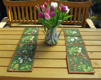 Picnic Placemats with Flatware Pockets / Foldable / Set of 2 / Linen Placemats / Vintage/ Table Decor / Dutch / Floral / Birds / Butterflies