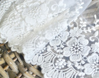 White lace fabric I White lace trim I Bridal lace I Lingerie lace I Embroidered lace I Embroidered net I Lace trim I White Lace I Net lace