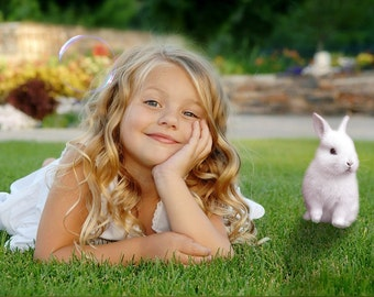 Bunny overlay photoshop photo -  photography cute little girl & funny bunnies transparent background