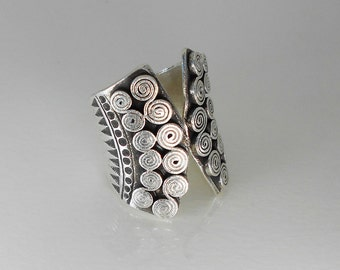 Karen Hill Tribe Silver Tribal Ethnic Wrapping Ring - Sterling Silver Ring - Women ring