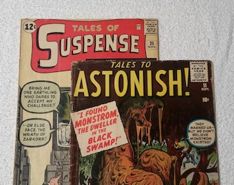 Lot of 2, Tales of Suspense #35 (1962), Tales to Astonish #11 (1960). Stan Lee, Kirby, Ditko, Ayers!