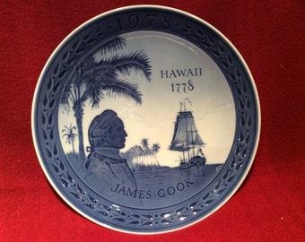 Royal Copenhagen Porcelain Plate Hawaii Captain James Cook 18cm diameter