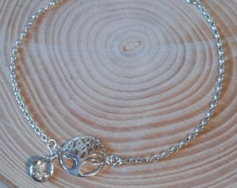 Tree of life bracelet, April birthstone, real white topaz bezel set charm, sterling silver rolo chain, outdoor gift, Inspirational gift