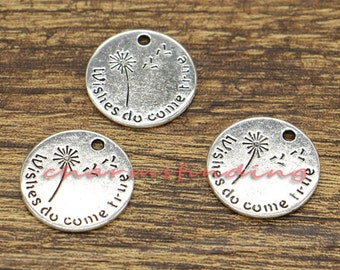 15pcs Wish Charms Wishes Do Come True Charms Round Word Tag Charms Antique Silver Tone 20x20mm cf0660
