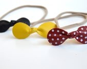 Red Polka Dot Bow Headbands Or Clips: 3 pack bows-Genuine Leather  Headbands Or Hair Clips // Minnie Inspired Bow // Red, Black, and Yellow