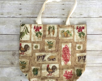 Reusable Grocery Bag - Reusable Bags -Market Bag - Rooster Bag - Reusable Shopping Bag - Rooster Grocery Bag -Reusable Market Bag
