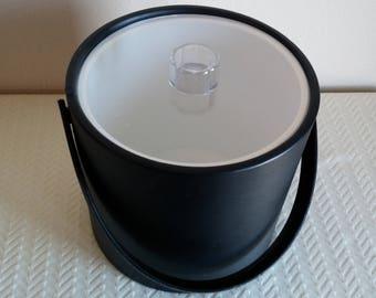 Vintage Black Leather Ice Bucket, Vintage Black Mr. Ice Bucket, Vintage Barware, Vintage Ice Bucket, Made in U.S.A.