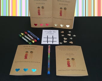 Personalised Childrens Wedding Activity Pack UK Book Favour Indian Mandala AB46