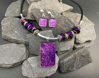 Purple Dichroic Glass Jewelry Set
