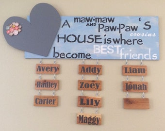 Custom Grandkids Wall Sign