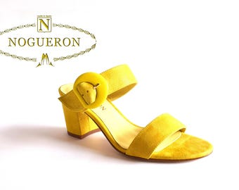 MARINA LIME HEEL -  Heeled sandals, womens shoes, leather, yellow color, glitter, Spring Summer, Nogueron